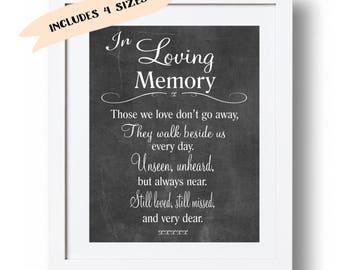 Memorial sign printable In loving memory print Wedding Memorial table Memorial poem Those we love don't go .. Memory sign 5x7, 8x10 DOWNLOAD