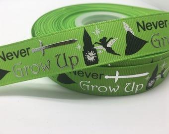 "7/8"" Never Grow Up silver foil grosgrain ribbom"