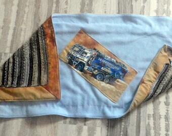 """fleece blanket and knit """"truck in the desert"""""""