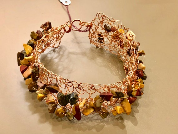 Handmade copper wire brown crochet cuff bracelet with mochaccino gemstone chips