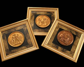 Vintage Grecian Wall Decor - Mid Century Turner Wall Accessory Set of 3 Plaques