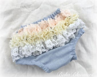 Bloomers Baby Boho Lace Chambray Baby Shower Bohemian Bohemian Baby Baby Boho Ruffle Shower Gifts Baby Bloomer Lace Cover Cake Smash Prop