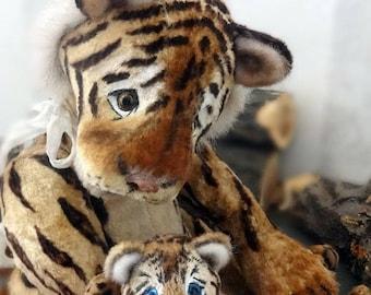 artist ooak bears TEDDY anna rudenko gentle mother .... tiger