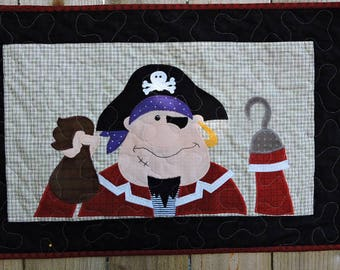 """Pirate with Hook Hand Quilted Wall Warmer - Red, Black, White and Purple      25.5"""" x 17"""""""