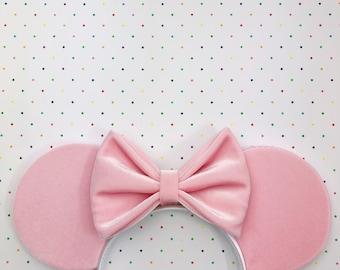 Pale Pink Velvet Mouse Ears