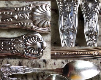 United States Navy silver plated demitasse and teaspoon pair quality Silverware made by International silver ideal for a naval collector
