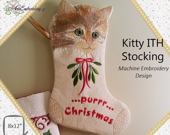 """Purrr Christmas! Kitty Stocking In the Hoop (ITH) - Machine Embroidery Design for hoop 8x12 """""""
