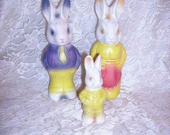 Vintage Candy Containers Rabbit Family of 3/Cutest Vintage Rabbit Candy Containers/Easter Rabbit Candy Container