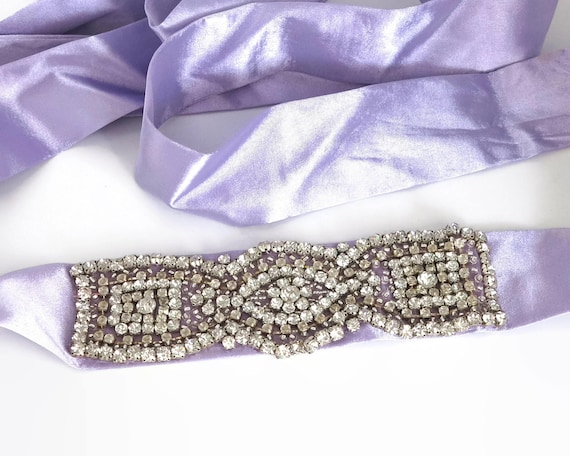 Large vintage rhinestone dress or belt applique, large circular rhinestones in prong settings, 6.5 x 2 inches, circa 1960s