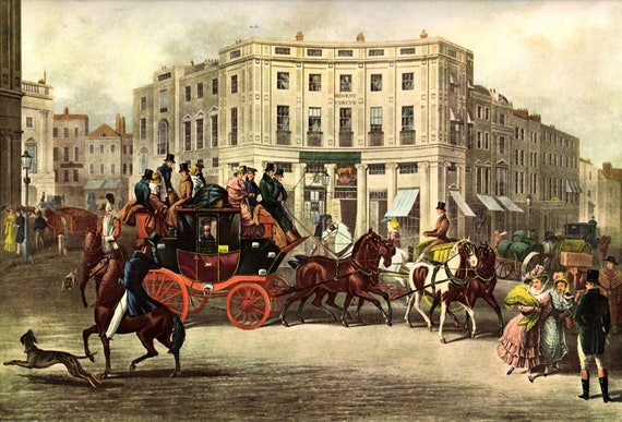 Large vintage print of busy scene in Regent Circus, Piccadilly London in 1829, print of colored lithograph, heavy paper, 17 x 13.5 ins