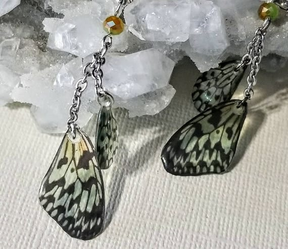 Sage Green Spotted Butterfly Wing Earrings