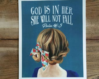 God is in her she will not fall - Psalm 46:5 - children's room - nursery decor - PRINT of original art