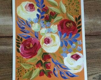 Yellow floral - PRINT of original art