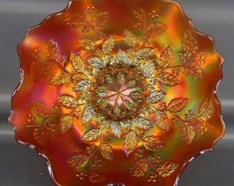 CARNIVAL GLASS - Fenton HOLLY Pumpkin Marigold Ruffled Bracket-Edge Bowl
