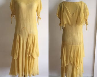 Xs/S Authentic 1920s Yellow Flapper Sailor Silk Crepe Dress As Is