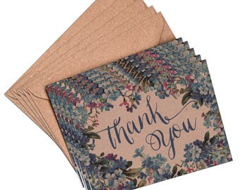 Mini Thank You Cards and envelopes, set of 10, A7, 105mm x 74mm floral thank you card, blue floral, thank you card set, thank you notes