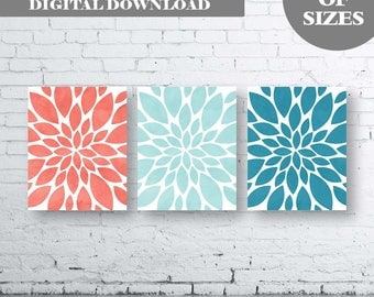 Flower Wall Art-Coral Aqua Teal Dahlia Flower Print-Set of Three (3)-Instant Download. Home Petals Bloom Wall Art. Abstract Art. Burst. Aqua