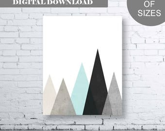 Beige Gray Black Aqua Mountain Wall Art Print. Instant Download. Gray Aqua Black Printable Art. Neutral Art, Modern Decor. Geometric. Home
