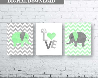 ELEPHANT PRINTS-Set of Three (3) Prints-Instant Download.Baby Prints.Nursery Prints.Bedroom Art.Children's Art.Kids Wall Art.Mint. Elephant