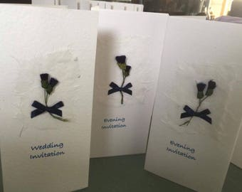 Scottish Handcrafted Wedding Stationery: Thistle themed Day and Evening invitation.
