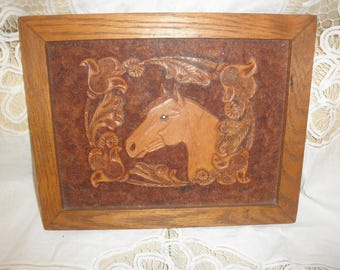 Horse Carving Leather by William Heldt in Wood Frame 3D Raised Design