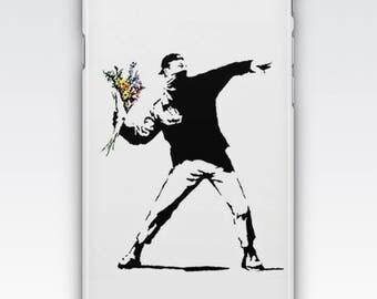 Case for iPhone 8, iPhone 6s,  iPhone 6 Plus,  iPhone 5s,  iPhone SE,  iPhone 5c,  iPhone 7  - Rage, Flower Thrower By Banksy