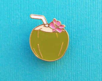 "Fun in the Sun Collection ""Pina Colada Cocktail"" Coconut Tiki Drink With Flower Enamel Pin Tie Tack Lapel"