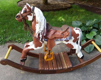 Rocking horse wooden hand carved hand painted all natural heirloom rocking horse toy