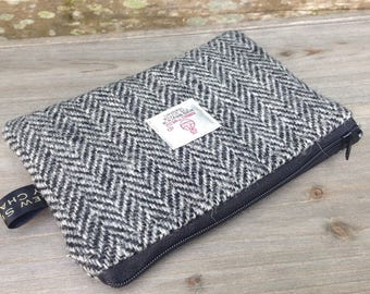 Herringbone black and grey harris tweed zip purse pouch storage pouch