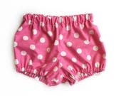 pink & white polka dots baby bloomers - spring bloomers Minnie outfit