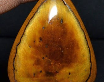 Paleo Bling: Spectacular Natural Tiger's Eye Unusual Pattern Bright Chatoyance Pear Caochon 52cts 35x26x 8mm VIDEO