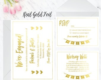 Gold Foil engagement party invitations // Custom invites // Engagement Party Invites // Personalised invites // Real Foil invitations GOLD