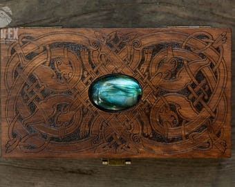 money box, card box, engraved wooden box, custom box, keepsake box,  vintage box, casket, celtic, celtic knot, celtic ornament, ornament box