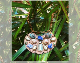 The MINI SHIELD NECKLACE by Gilded-Mane: African Turquoise, Agate & Oxidized Brass Tulips on Taupe Leather, Small