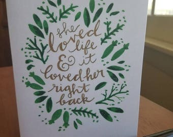 She Loved Life - hand-doodled card