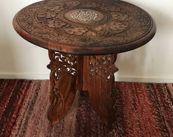 Vintage Indian Carved Sheesham Rosewood Wooden Table With Swan Base