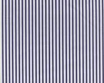 Fabric - Sevenberry navy stripe - shirt weight woven cotton