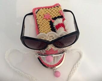 Handmade eyeglasses holder, cell phone crocheted from acrylic