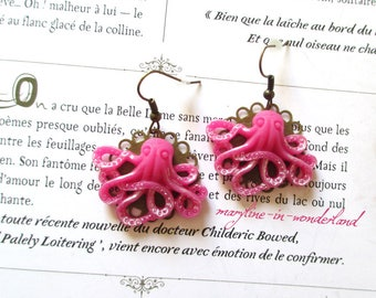Octopus fuchsia earrings
