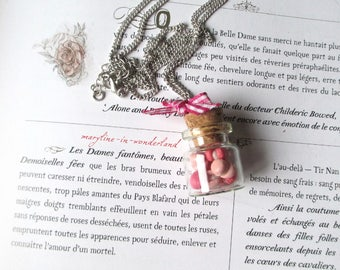 pretty pink macaroon vial necklace