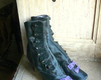 RESERVED FOR KIMBERLEE antique  silk button up boots