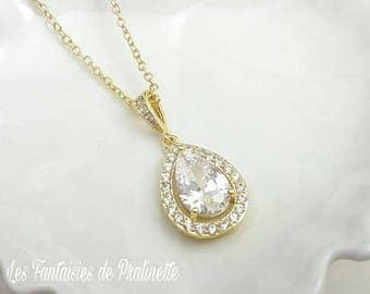 Collier de mariage, pendentif mariage, collier mariage doré, pendentif en cristal zircon, collier mariée goutte, pendentif goutte