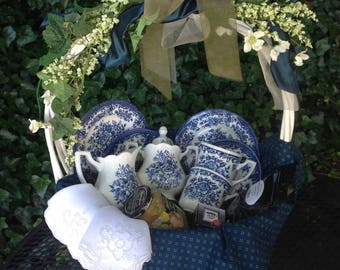 Tea for two gift basket in blue and white transferware.  A wonderful gift for best friend, shower, retirement.