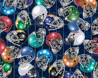 Football Helmets Fabric; You Choose Size; 26176-W; Quilting Treasures; Sports Fabric; Gridiron; Football Fabric
