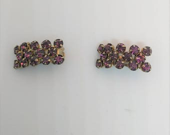 Dazzling Purple Crystal Rhinestone Clip On Earrings