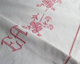 Antique French Linen Metis Sheet Monogram EA Pink Butterflies