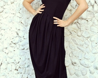 ON SALE Black Asymmetric Maxi Dress / Extravagant Maxi Dress / Plus Size Black Dress TDK32