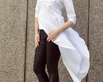 SALE 25% OFF White Summer Top, Cotton White Dress Top, White Asymmetrical Blouse TT72 by Teyxo