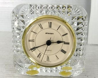 Staiger Cristal French Crystal Desk Clock   Made in West Germany