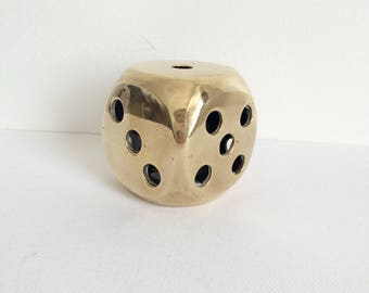 Vintage Brass Dice, Decorative Brass Dice
